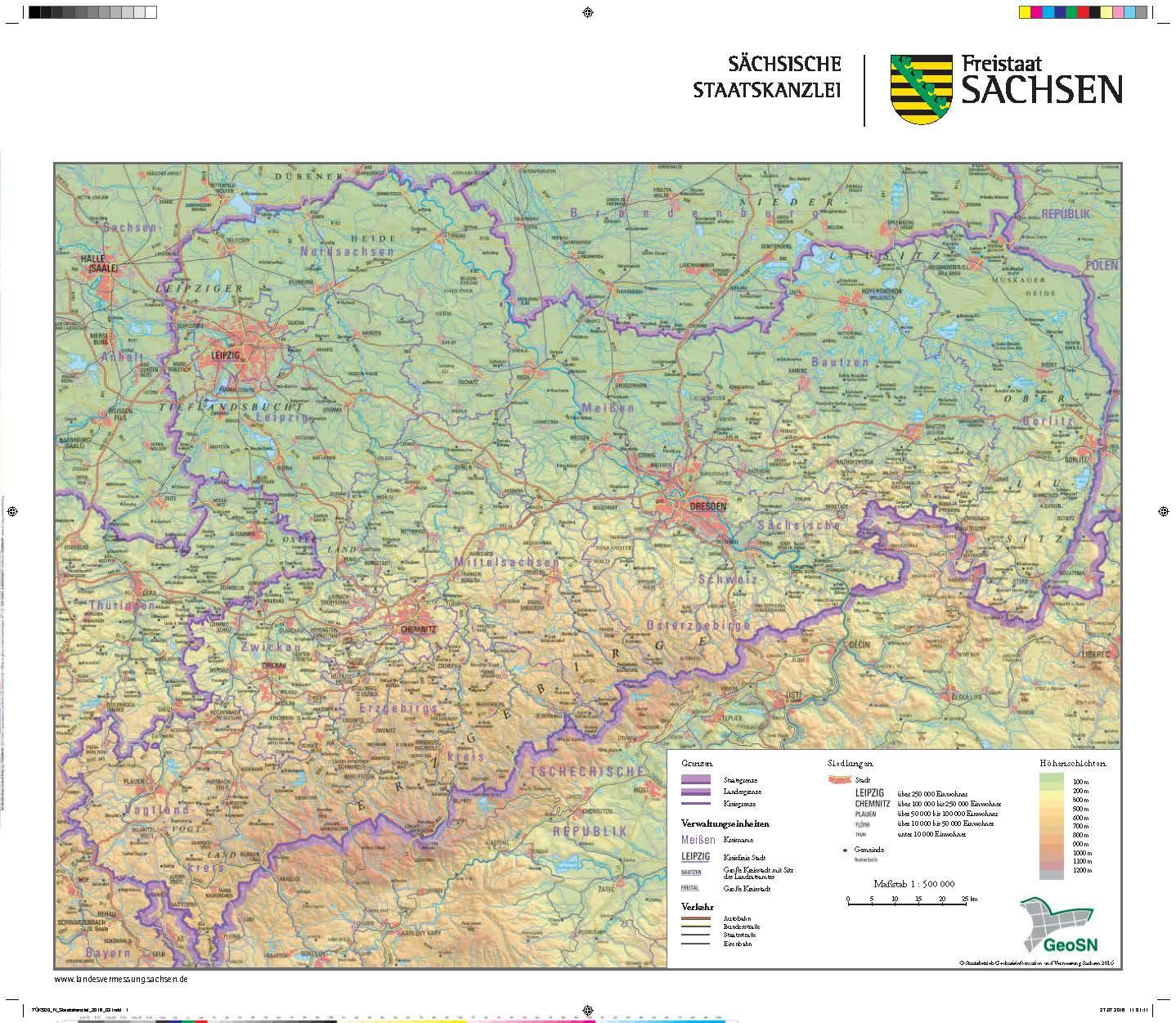 sachsen karte Karte des Freistaates Sachsen